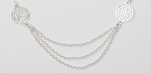 "Sterling Silver  Rhodium Finish 18"" Rolo With 2 Open Circle Necklace"
