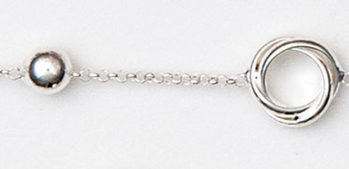 """Sterling Silver  Rhodium Finish, 7.5"""" Alternating Knot And Ball Bracelet"""