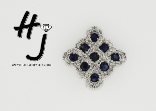 14 Karat White Gold .16 dtw Sapphire and Diamond Pendant