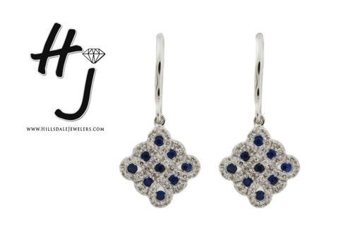 14 Karat White Gold .30 dtw Sapphire and Diamond Earrings