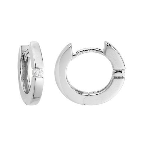 14 Karat White Gold .07 DTW Hinged Hoop Earrings