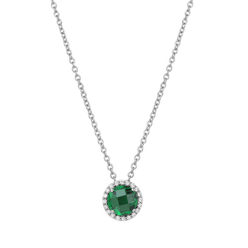 """Sterling Silver Created Emerald with Simulated Diamond Pendant with 18"""" Chain"""