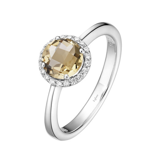 Sterling Silver Citrine with Simulated Diamond Ring