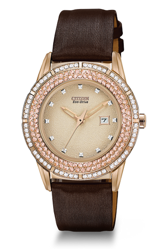 Ladies Eco Drive Champagne and White Crystals With Brown Band