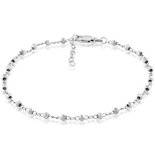 "Sterling Silver Diamond Cut Beaded Anklet  9""+1"""