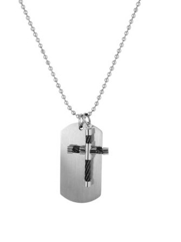 "SteelX Necklace Cross & TaG w/24"" Bead Chain"