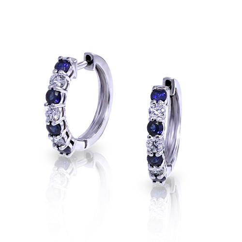 14 Karat White Gold Diamond & Sapphire .35 DTW Hoop Earrings