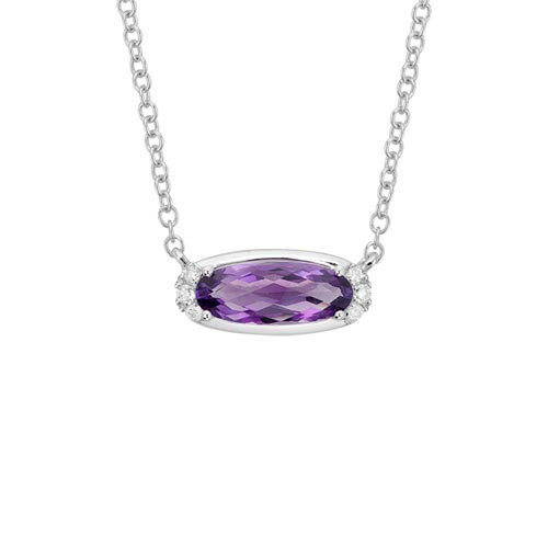 14 Karat White Gold Oval Amethyst & Diamond Necklace