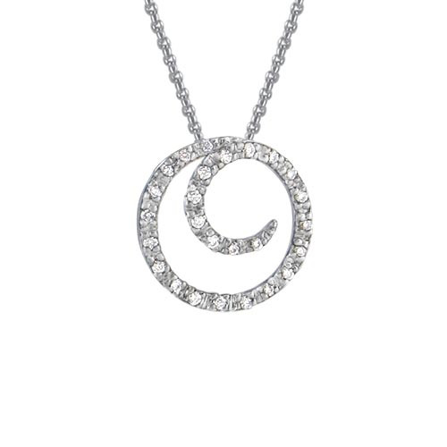 14 Karat White Gold Diamond Coil Necklace