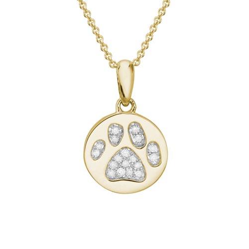 "14 Karat Yellow Gold & Diamond Paw Print Necklace with 18"" Chain"