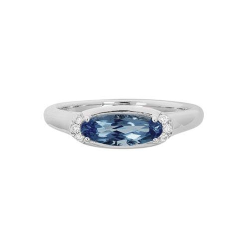 14 Karat White Gold Oval London Blue Topaz & Diamond Ring
