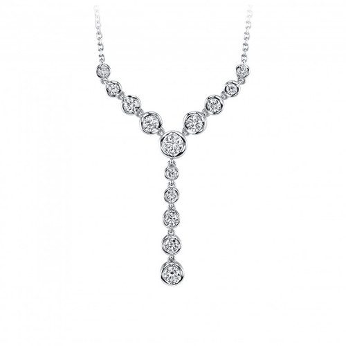 14 Karat White Gold & Diamonds Bezel Dangle Necklace 1.00 DTW
