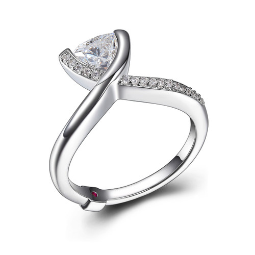 Elle Sterling Silver Trillion Cut CZ Ring