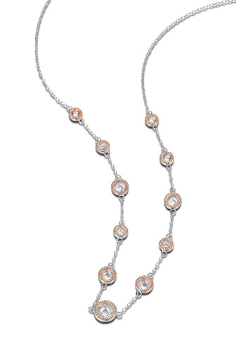 """Elle Sterling Silver Rose Plated CZ 36"""" Necklace"""