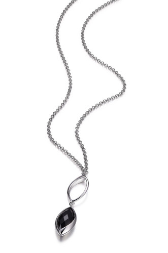 Elle Sterling Silver Marquise Shaped Black Agate Necklace