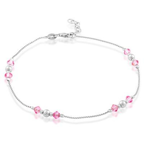 "Sterling Silver Anklet with Pink Crystals 9""+1"""