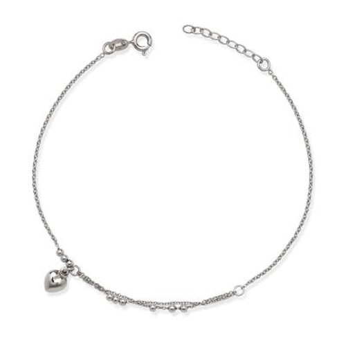 "Sterling Silver Anklet with Double Chain, Beads, & Dangling Heart Charm 9""+1"""
