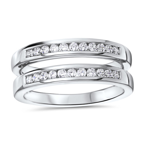 14k White Gold Channel Set Ring Guard