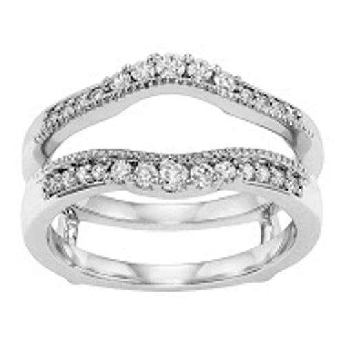 14k White Gold Curved Ring Guard 0.33 DTW