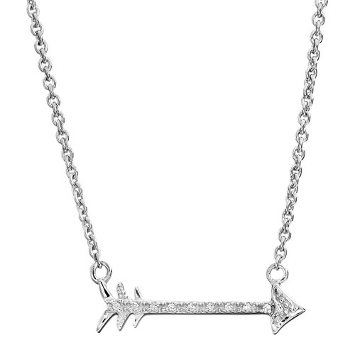 """Sterling Silver & Diamond Arrow Necklace 18"""" Chain 0.04 DTW"""