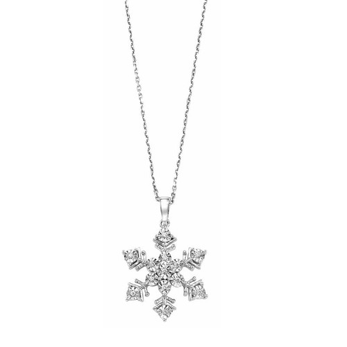 """Sterling Silver & Diamond Snowflake Necklace 18"""" Chain 0.06 DTW"""