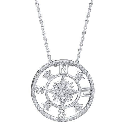 """Sterling Silver & Diamond Compass Necklace 18"""" Chain 0.07 DTW"""