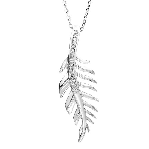 """Sterling Silver & Diamond Feather Necklace 18"""" Chain 0.06 DTW"""