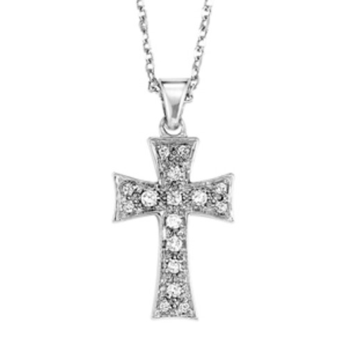 """Sterling Silver & Diamond Cross Necklace 18"""" Chain 0.10 DTW"""