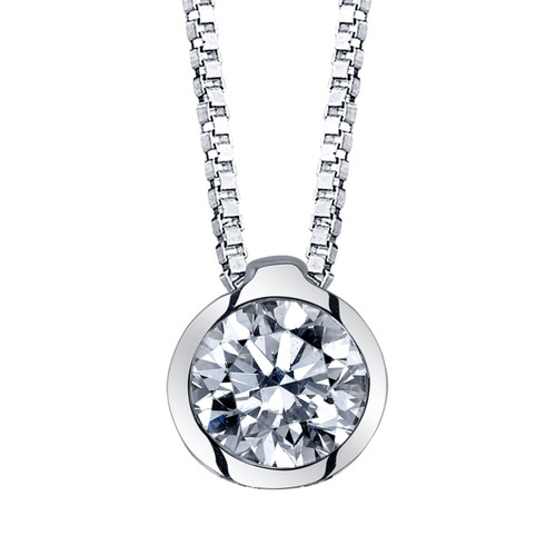 "14K White Gold Diamond Bezel Pendant 0.25 DTW w/18"" Box Chain"