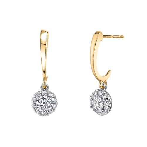 14K Two Tone Diamond Halo Dangle Earrings 0.50 DTW