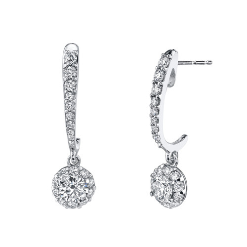 14K White Gold Diamond Halo Dangle Earrings 0.75 DTW