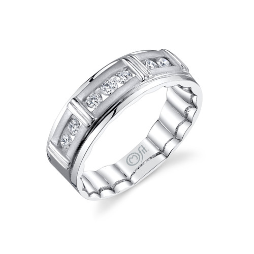 14K White Gold Men's Mfit Diamond Channel Set Band