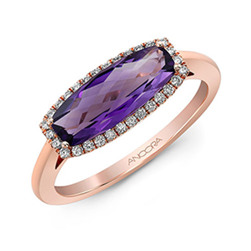 14 Karat Rose Gold Oblong Amethyst .13 DTW Ring Available wtih London Topaz and Garnet
