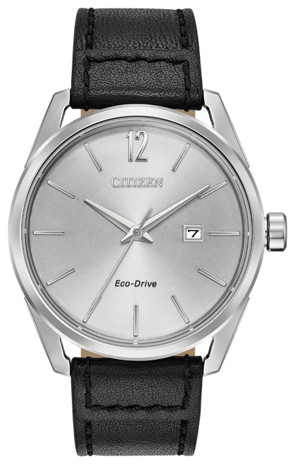 Stainless steel case, smooth leather black strap with a silver dial and date. Featuring Eco-Drive technology – powered by light, any light. Never needs a battery.