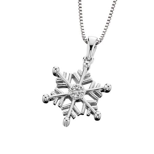 """SS & Diamond Snowflake Pendant w/18"""" Box Chain 0.025 DTW"""