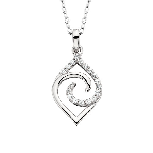 """10K White Gold Diamond Navette Pendant with 18"""" Chain 0.10 DTW"""