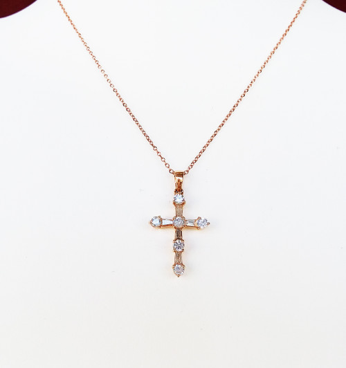 "14K Rose Gold Round & Baguette Diamond Cross Pendant 16"" Chain 0.56 DTW"