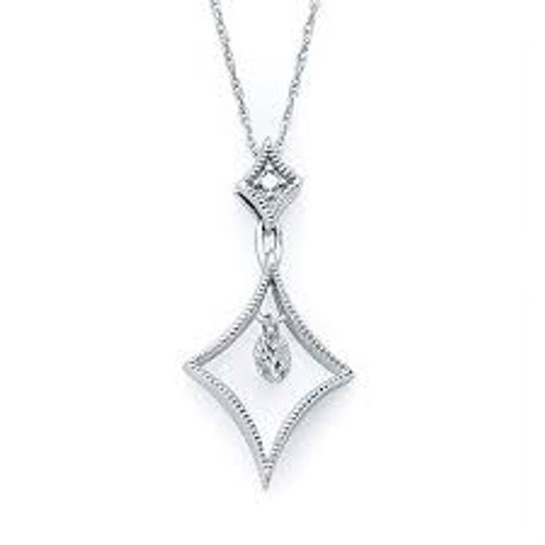 "14K White Gold Floating Diamond Pendant 0.16 DTW 18"" Chain"