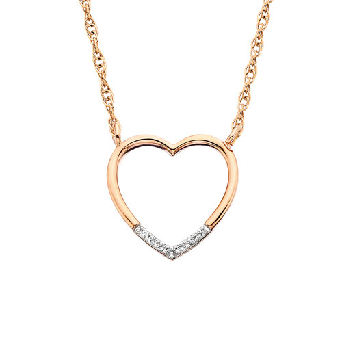 "10K Rose Gold & Diamond Heart Pendant w/Diamonds on Bottom 0.02 DTW 18"" Chain"