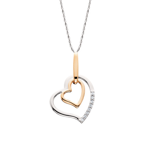 "10K White & Rose Gold Double Heart Diamond Pendant 0.04 DTW 18"" Chain"