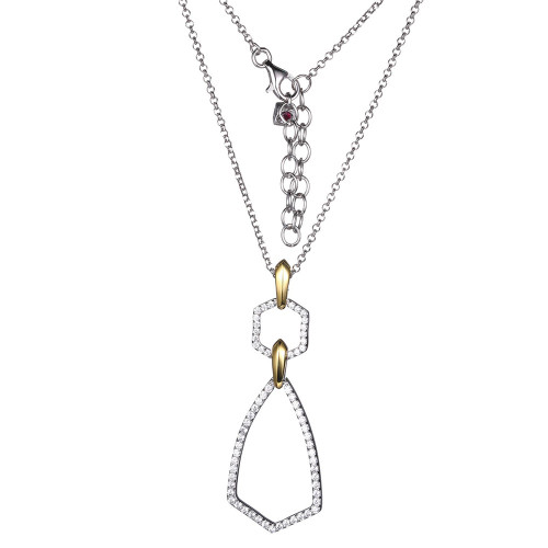 """Elle Sterling Silver & Yellow Gold Plated Geometric Shape CZ Pendant on 28"""" Chain"""