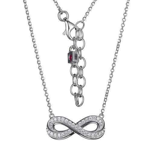 """Elle Sterling Silver CZ Infinity Necklace 18"""""""