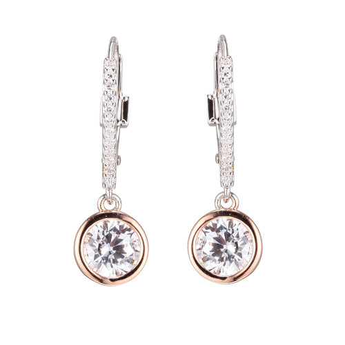 Elle Sterling Silver Rose Gold Plated CZ Bezel Dangle Earrings