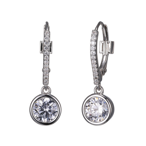 Elle Sterling Silver CZ Bezel Dangle Earrings