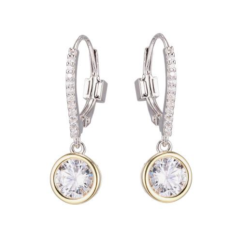 Elle Sterling Silver Yellow Gold Plated Bezel Dangle Earrings