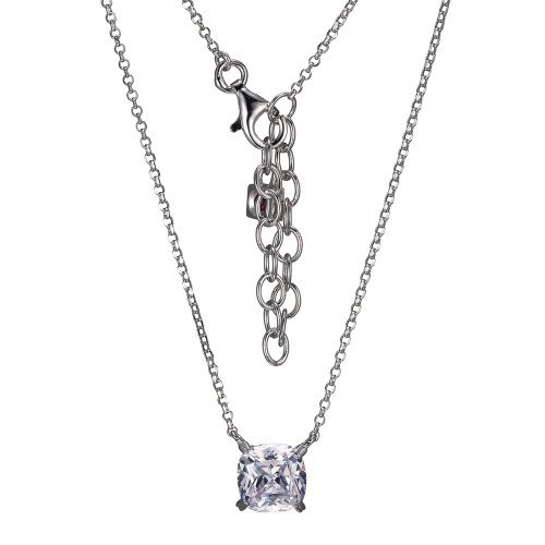 "Elle Sterling Silver Cushion Cut CZ Solitaire Necklace 19"""