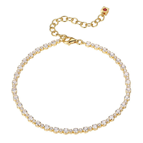 Elle Sterling Silver Yellow Gold Plated CZ Tennis Bracelet