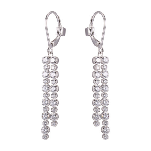 Elle Double Row of Dangle CZs Lever Back Earrings