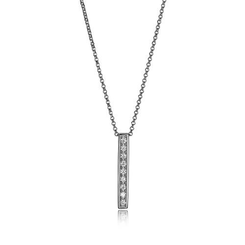"Elle Sterling Silver CZ Vertical Bar Pendant 18"" Rolo Chain"
