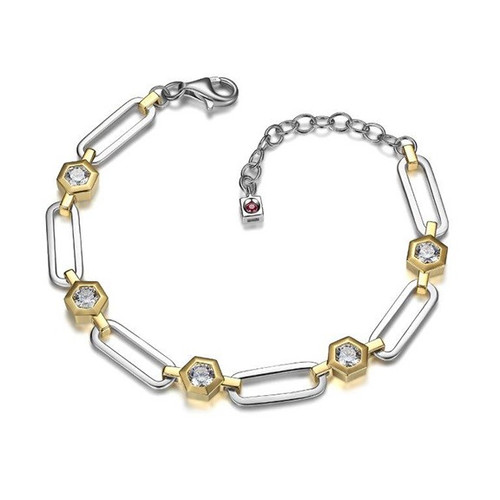 Elle Sterling Silver Yellow Gold Plated CZ Open Link Bracelet